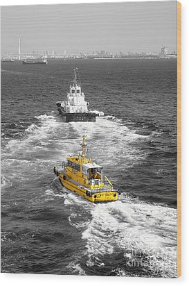 Yellow Pilot Yokohama Port Wood Print