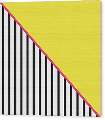 Yellow Pink And Black Geometric Wood Print by Linda Woods