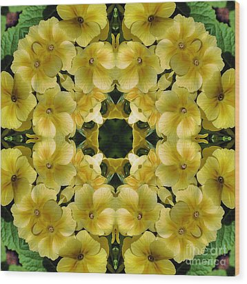 Yellow Primrose Kaleidoscope Wood Print