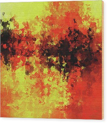 Wood Print featuring the painting Yellow, Red And Black by Ayse Deniz