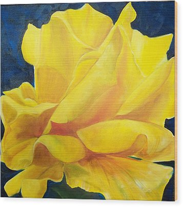Yellow Rose Wood Print by Dana Redfern