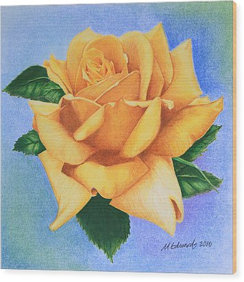 Yellow Rose Wood Print by Marna Edwards Flavell