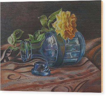 Yellow Rose On Blue Wood Print by Mary Jo Jung