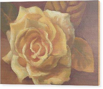 Yellow Rose Wood Print by Sharon Weaver
