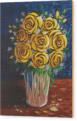 Wood Print featuring the painting Yellow Roses by Katherine Young-Beck