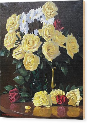 Yellow Roses Wood Print by Kevin Lawrence Leveque