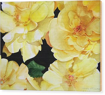 Yellow Roses Wood Print by Patrick McClintock