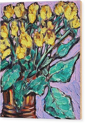 Yellow Roses Wood Print by Sheila Tajima