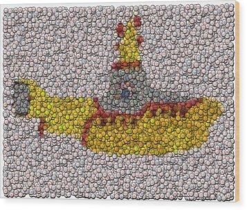 Yellow Submarine Bottle Cap Mosaic Wood Print by Paul Van Scott