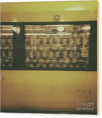 Wood Print featuring the photograph Yellow Subway Train by Ivy Ho