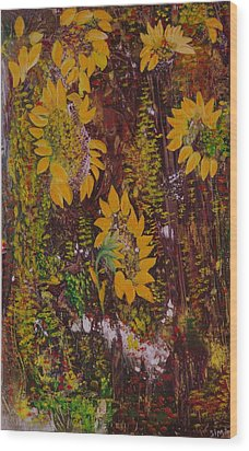 Wood Print featuring the painting Yellow Sunflowers by Sima Amid Wewetzer