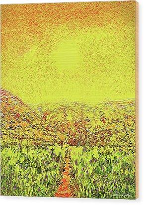 Wood Print featuring the digital art Yellow Sunlit Path - Marin California by Joel Bruce Wallach