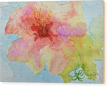 Yellow Tinged Hibiscus Wood Print