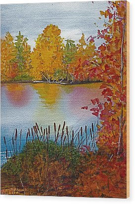 Wood Print featuring the painting Yellow Tree At Institute Park by Lynn Babineau