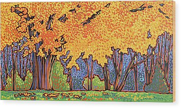 Yellow Tree Wood Print by Nadi Spencer