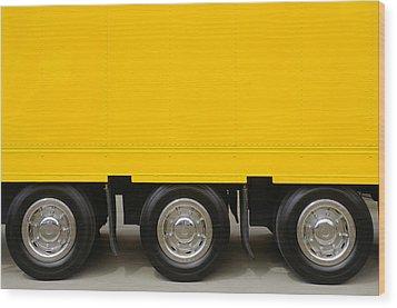 Yellow Truck Wood Print by Carlos Caetano