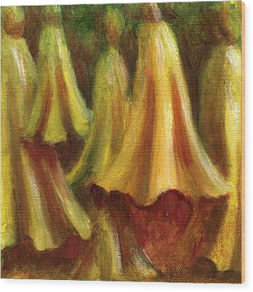 Yellow Trumpet Flowers Wood Print by Patricia Halstead