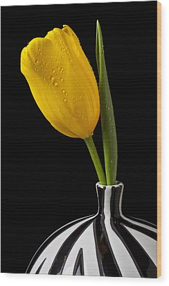 Yellow Tulip In Striped Vase Wood Print by Garry Gay