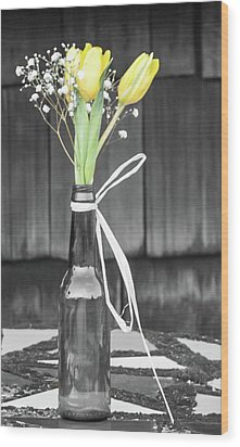 Wood Print featuring the photograph Yellow Tulips In Glass Bottle by Terry DeLuco