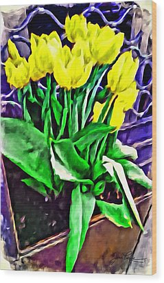 Wood Print featuring the painting Yellow Tulips by Joan Reese