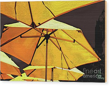 Yellow Umbrellas Wood Print
