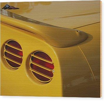 Yellow Vette Lights Wood Print by Rob Hans