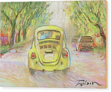 Yellow Vw Wood Print by Ron Wilson