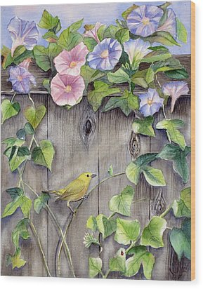 Yellow Warbler And Morning Glory Wood Print by Patricia Pushaw