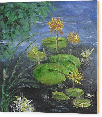 Yellow Water Lilies Wood Print by Barbara Harper