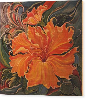 Wood Print featuring the painting Yellow Wild Hibiscus by Yolanda Rodriguez