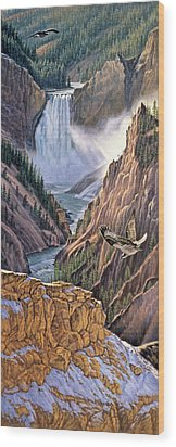 Yellowstone Canyon-osprey Wood Print