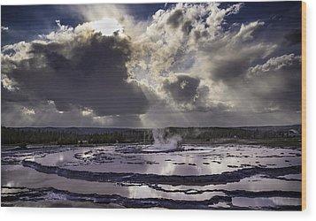 Yellowstone Geysers And Hot Springs Wood Print by Jason Moynihan