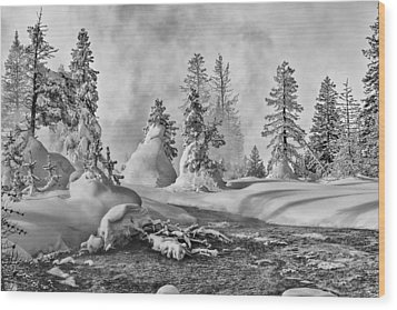 Yellowstone In Winter Wood Print
