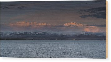 Yellowstone Lake At Sunset Wood Print