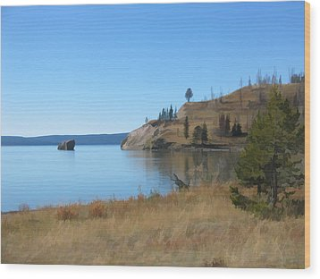 Wood Print featuring the digital art Yellowstone Lake Se by Gary Baird