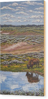 Wood Print featuring the painting Yellowstone Reflections by Erin Fickert-Rowland
