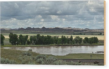 Yellowstone River After The Storm Wood Print by Aliceann Carlton