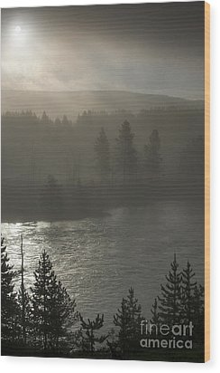 Yellowstone River Fog Wood Print by Sandra Bronstein