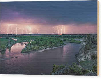 Yellowstone River Lightning Wood Print by Leland D Howard