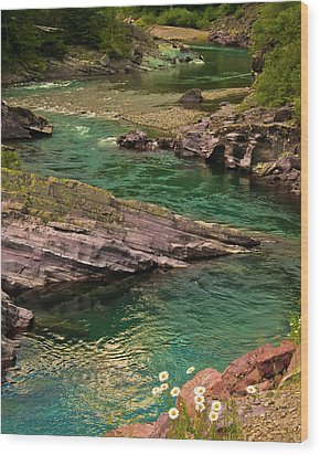 Yellowstone River Scene Wood Print by Harry Strharsky