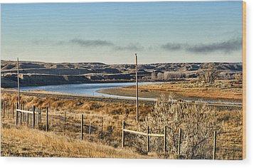 Yellowstone River View Wood Print by Aliceann Carlton