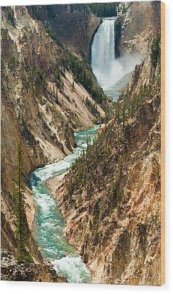 Yellowstone Waterfalls Wood Print by Sebastian Musial