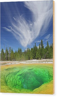 Wood Print featuring the photograph Yellowstone's Morning Glory Pool Pool And Awesome Clouds by Bruce Gourley