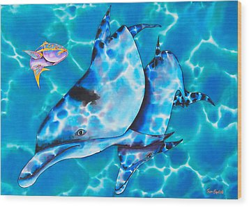 Yellowtail Snapper And  Dolphins Wood Print by Daniel Jean-Baptiste
