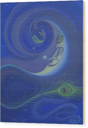 Yin Yang Moon Wood Print