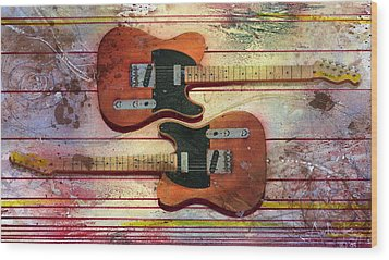 Wood Print featuring the painting Yin-yang Teles by Andrew King