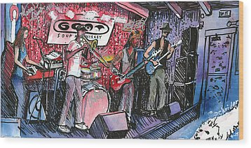 Wood Print featuring the painting Yo Mammas Big Fat Booty Band by David Sockrider