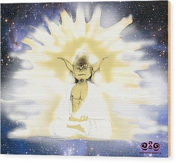 Yoda Budda Wood Print