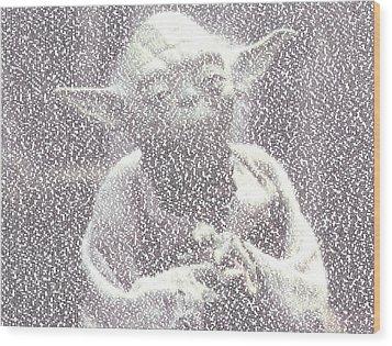 Yoda Quotes Mosaic Wood Print by Paul Van Scott