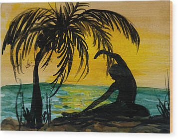 Yoga Seated Side Bend Wood Print by Donna Walsh
